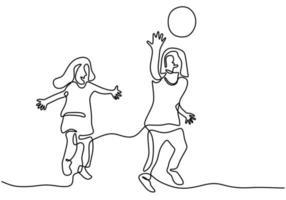duas filhas jogando juntos um design minimalista de mão desenhada de arte de linha contínua. meninas felizes jogando bola na praia para as férias. conceito de jogos de crianças. ilustração vetorial vetor