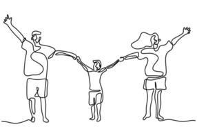 Contínuo um desenho de linha de pai de família feliz, mãe e filho brincando e pulando juntos para expressar sua felicidade. conceito de parentalidade de família feliz. ilustração vetorial vetor