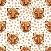 padrão sem emenda com cabeças de tigre. impressão para crianças de tecido. vetor