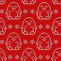 padrão de malha sem costura witn pinguim branco. impressão de natal para embrulho de papel, tecido e teia. vetor