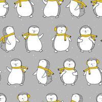impressão de Natal perfeita com pinguins e flocos de neve. impressão engraçada para roupas de inverno e design de elementos. vetor