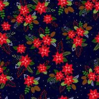 fundo de Natal sem costura com vermelho Poinsétia, pinha, bagas de rowan e neve. fundo do vetor para tecido, papel de embrulho e têxteis de férias.