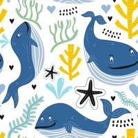 padrão sem emenda com giros baleias nadadoras. animais submarinos. fundo infantil criativo. perfeito para roupas infantis, tecidos, têxteis, decoração de berçário, papel de embrulho. Ilustração em vetor
