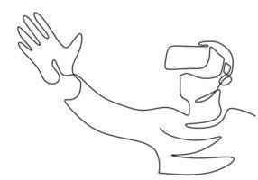 Contínuo um desenho de linha do homem alcançando algo durante o jogo de simulação. jovem do sexo masculino usando um capacete óculos de realidade virtual isolados no fundo branco. ilustração vetorial vetor