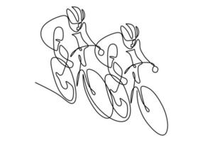 um desenho de linha contínua da corrida de piloto de bicicleta jovem enérgico na pista de ciclismo. conceito de ciclista de corrida. desenho de desenho de mão para o estilo minimalista de banner de torneio de ciclismo. ilustração vetorial vetor
