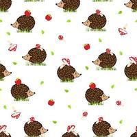 ouriços com cogumelos e maçãs na grama. padrão sem emenda com ouriços e agaric voar. impressão para tecido, papel de embrulho e capa de telefone. vetor