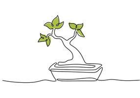 desenho de linha contínua da árvore bonsai da natureza no pote isolado no fundo branco. beleza e planta banyan chinesa ou japonesa fresca para decoração de parede de arte em casa. tema de planta de casa botânica vetor