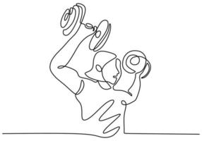 desenho de linha contínua de uma mulher forte levantando pesos. jovem garota energética exercício levantando a barra no ginásio de fitness. agachamentos com elemento de design linear de barra. ilustração vetorial