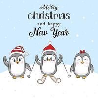 pinguim engraçado com chapéu vermelho de Natal. vetor férias cartão de saudação de Natal com três pinguins dos desenhos animados e letras de feliz Natal.