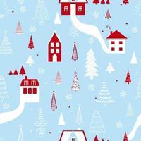 padrão engraçado sem costura vetor com casas, flocos de neve e árvore de Natal. pode ser usado para tecido, capa de telefone e papel de embrulho.