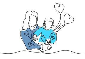 contínuo um desenho de linha de mulher segurando seu bebê com balões de ar. jovem mãe com uma criança isolada no fundo branco. feliz Dia da Mulher. conceito de paternidade familiar. ilustração vetorial vetor