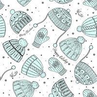 padrão sem emenda de vetor de inverno bonito com chapéus, luvas, flocos de neve e parabéns. Feliz Natal, padrão de ano novo. ilustração vetorial para capa, cartão, têxtil e design de interiores, papel de embrulho para o ano novo.