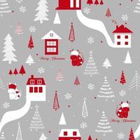 padrão engraçado sem costura vetor com vacas, casas, flocos de neve e árvore de Natal. pode ser usado para tecido, capa de telefone e papel de embrulho. ano novo 2021.