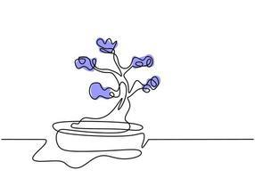 contínua uma árvore de desenho de linha no pote. beleza e árvore de bonsai em miniatura exótica para decoração de casa isolada no fundo branco. plantas de interior em design minimalista. ilustração vetorial vetor