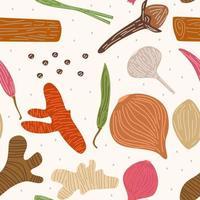 padrão sem emenda de vetor com ervas como gengibre, pimenta malagueta, cebola, cebola roxa, alho, cravo, capim-limão, açafrão. esboçar design de especiarias para papel, capa, tecido, decoração de interiores e outros usos.