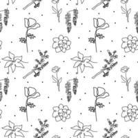 lindo padrão floral sem costura com flores de flor, primavera sem fim em um desenho de linha contínuo. ilustração vetorial para embalagem, papel de embrulho, postagem em mídia social, etc. estilo minimalista
