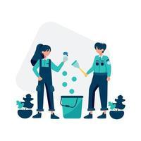 serviço de limpeza ilustração vetorial de limpeza e manutenção do quarto vetor