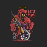 Vetor de ilustração pequeno rebelde ceifador