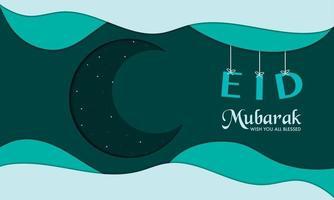 eid mubarak com papel de lua crescente vetor
