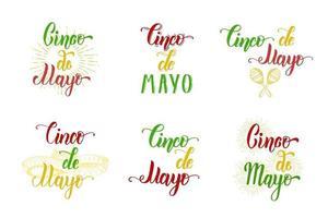 Conjunto de letras cinco de mayo feito à mão. cor ilustração vintage símbolo mexicano no estilo de desenho isolado no branco. frase de caligrafia de letras. vetor