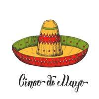 mão desenhada sombrero colorido no estilo de desenho. Letras cinco de mayo feitas à mão. México. ilustração em vetor vintage isolada no branco.