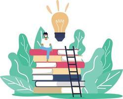 um homem usando máscara sentado sobre a torre de livros enquanto trabalha ou estuda através da internet online em situação de surto de vírus corona covid19, distanciamento social e aprendizagem online educação vetor