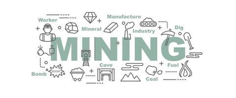 banner de vetor de mineração