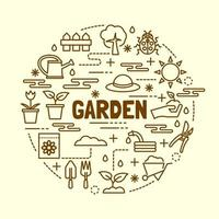 conjunto de ícones de linhas finas mínimas de jardim vetor
