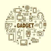 conjunto de ícones de linha fina mínima de gadget vetor