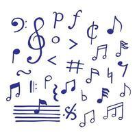 notas musicais doodle vetor