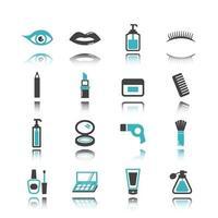 ícones cosméticos com reflexo vetor