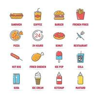 ícones de linha de vetor de fast food com cores planas