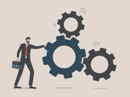 empresário coloca as engrenagens, conceito de solução de negócios vetor