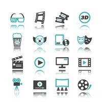 ícones de filmes com reflexão vetor