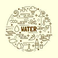 conjunto de ícones de linha fina mínima de água vetor
