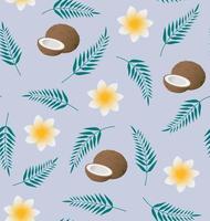 padrão tropical de vetor sem costura com coco, folhas de palmeira e plumeria sobre fundo azul. perfeito para papel de parede, plano de fundo, têxtil, tecido ou papel de embrulho.