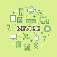 ícones de contorno mínimo do dispositivo vetor