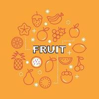 ícones de contorno mínimo de frutas vetor