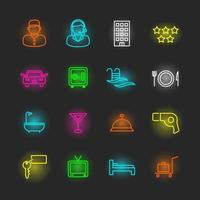 conjunto de ícones de néon do hotel vetor