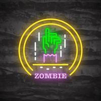 logotipo de néon da noite de halloween zumbi vetor