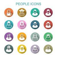 ícones de longa sombra de pessoas vetor