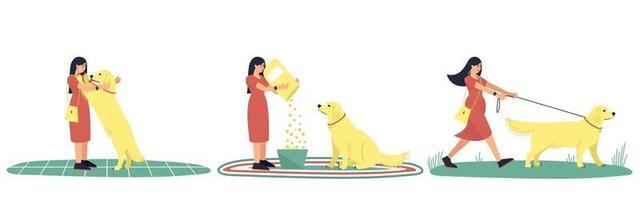 conjunto de ilustrações de uma mulher e seu cachorro labrador vetor