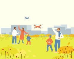 pais observando crianças brincando com drone no parque de outono vetor
