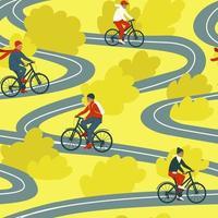 padrão sem emenda de família em bicicletas vetor