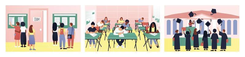 um conjunto de vida estudantil variada e interessante. os alunos olham os resultados do exame. o teste está em andamento na sala de aula. na formatura, bonés voam para o céu. ilustração vetorial plana. vetor