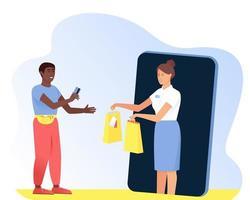 um afro-americano faz compras online usando seu telefone vetor