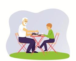 avô e neto estão jogando xadrez vetor