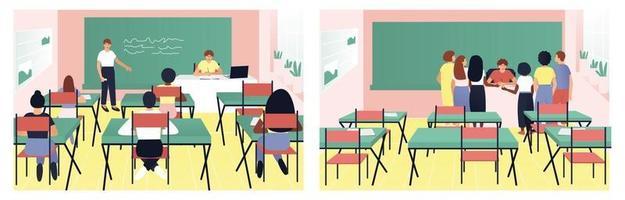 conjunto de ensino em sala de aula de professor e alunos vetor