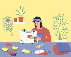 uma mulher trabalha em casa, costura máscaras médicas de tecido vetor