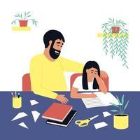 pai ajuda a filha a fazer o dever de casa vetor